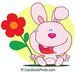 Bunny holds flower