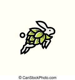 bunny hop brew vector illustration logo icon template