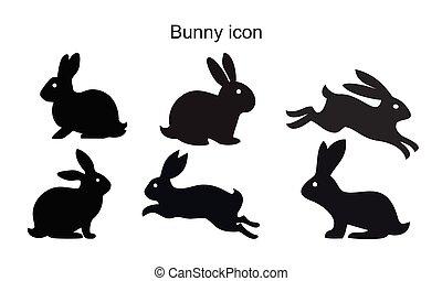 Bunny icon template black color editable. Bunny icon symbol Flat vector illustration for graphic and web design.
