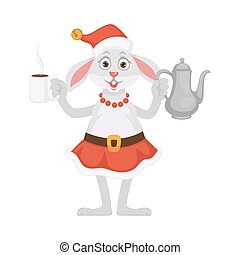 Bunny in Christmas hat and skirt with tea