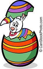 bunny in easter egg cartoon illustration