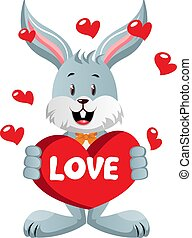 Bunny in love, illustration, vector on white background.