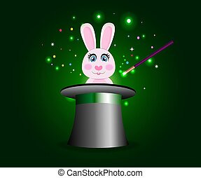 Bunny in magic hat with wand on green sparkling glow background.