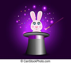 Bunny in magic hat with wand on violet sparkling glow background.