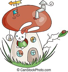 Bunny in the fungus house. Magic mushroom. Cute rabbit in forest.