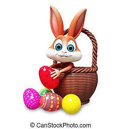 Bunny inside eggs basket - Brown bunny inside eggs basket...