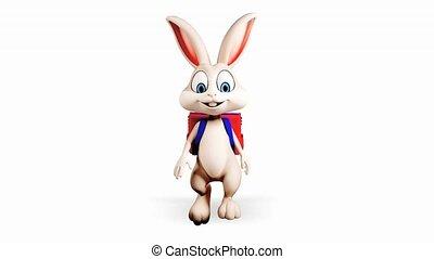 Bunny is walking with school bag - White bunny is walking...