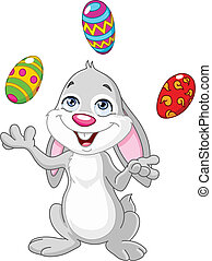 Bunny juggling easter eggs - Happy bunny juggling Easter...