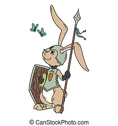 Bunny knight with a lance and shield.