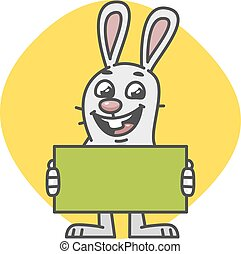 Bunny Laughs and Holds Empty Nameplate. Vector Illustration....