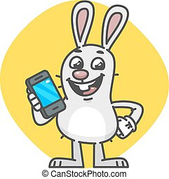 Bunny laughs and Holds Mobile Phone. Vector Illustration....