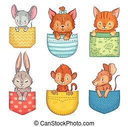 bunny., lindo, perro, conjunto, animal, divertido, mono,...