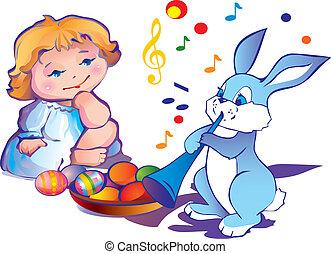 bunny., meisje, pasen