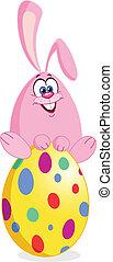 Bunny on easter egg