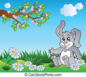 Bunny on meadow with daisies