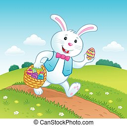 Bunny On Trail with Easter Basket - Cartoon illustration of...