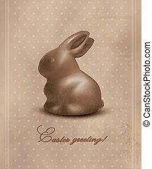 bunny., páscoa, fundo, vector., chocolate