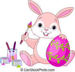 Vector illustration of an Easter Bunny painting an egg