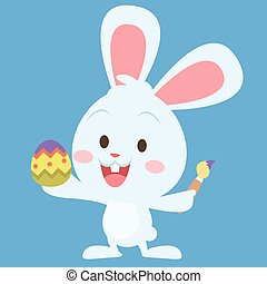 Bunny painting egg easter theme