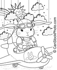 bunny pilot coloring page - Lovely bunny pilot coloring page...