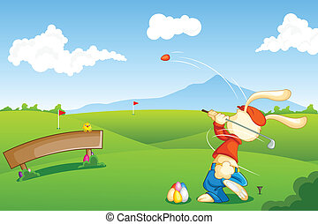 Bunny playing Golf with Easter Egg - easy to edit vector...