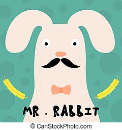 bunny., rabbit., kaart, gekke