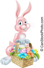 Bunny Rabbit with Easter Basket