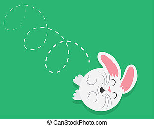 Bunny Rolling Downhill - Cartoon round bunny rolling down a...