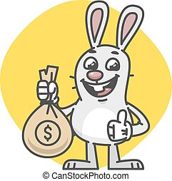 Bunny Showing Thumbs Up and Bag of Money
