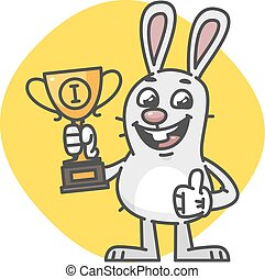 Bunny Showing Thumbs Up and Holding Cup