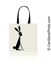 Bunny silhouette, design of shopping bag
