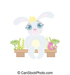 Bunny Sitting On Garden Bench
