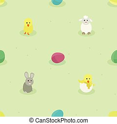 Bunny, small chicken, sheep and Easter eggs