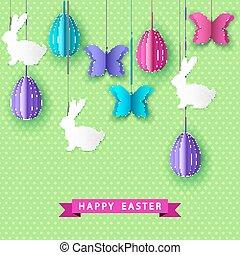 bunny., tarjeta, mariposa, huevos, saludo, pascua, feliz, papercut