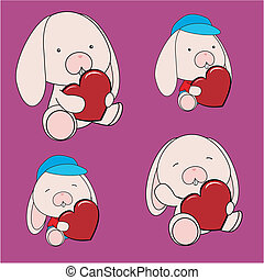 Bunny Valentine Heart Set