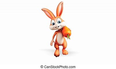Bunny walking with carrot