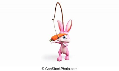 Bunny walking with carrot - Happy Easter pink bunny walking...