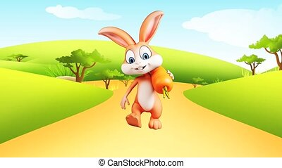 Bunny walking with carrot - Illustration of Easter bunny...