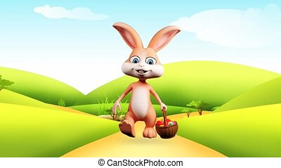 Bunny walking with eggs basket - Illustration of Easter...