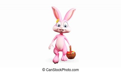Bunny walking with eggs basket - Happy Easter pink bunny...