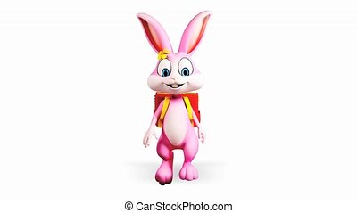 Bunny walking with school bag - Happy pink bunny going to...
