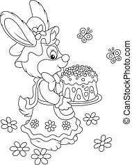 Bunny with an Easter cake