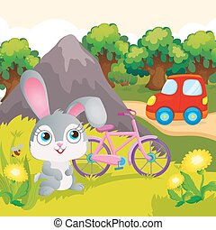 Bunny With Bicycle Near Mountain
