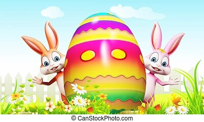 Brown and pink bunny is saying hi from behind a big egg