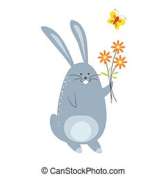 Bunny with bouquet of flowers and flying butterfly