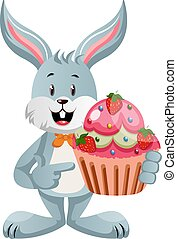Bunny with cake, illustration, vector on white background.