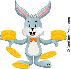 Bunny with coins, illustration, vector on white background.
