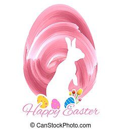 Bunny with colorful egg in easter card