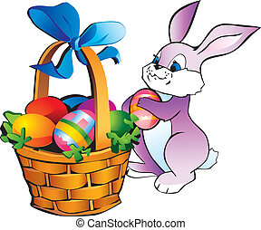Bunny with easter basket. - Little bunny with easter basket...