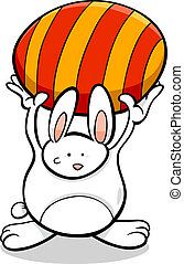 bunny with Easter egg cartoon illustration